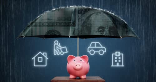 Emergency Fund Piggy Bank Under Umbrella For Rainy Days