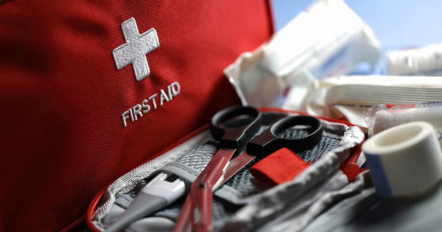 First Aid Kit And Medical Supplies From An Emergency Kit