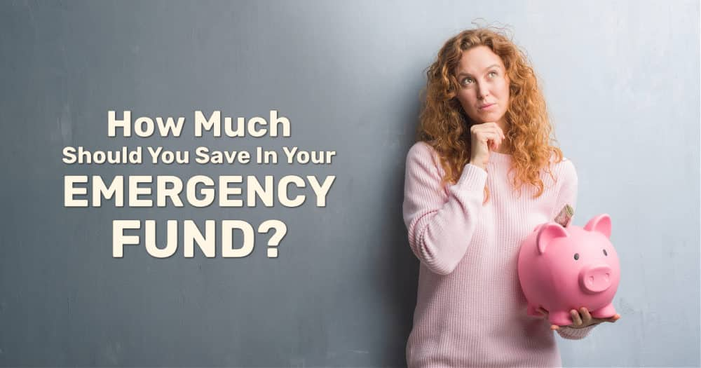 Young Woman Holding Piggy Bank Thinking About How Much Should You Save In Your Emergency Fund