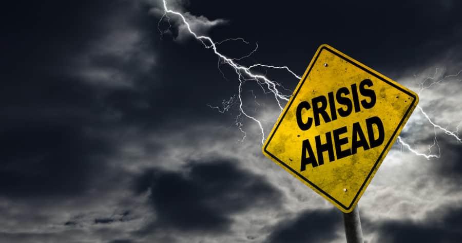 Lightning Bolt Striking Crisis Ahead Sign