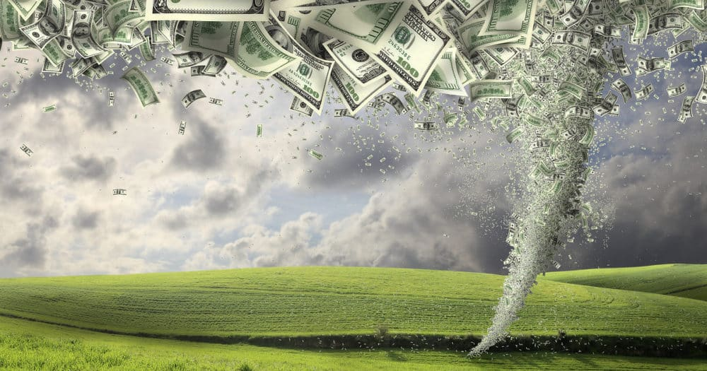 Money Tornado Representing Financial Preparedness In A Disaster Or Emergency