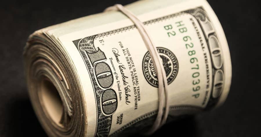 One Hundred Dollar Bills Roll Emergency Money