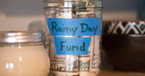 Rainy Day Fund Glass Jar Cash