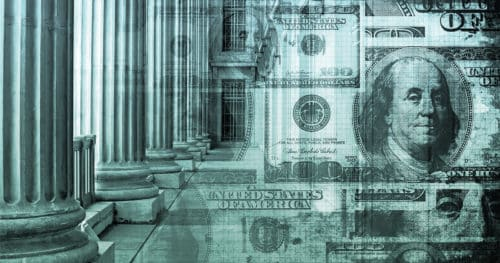 Large Marble Columns And Hundred Dollar Bills Representing Financial Services