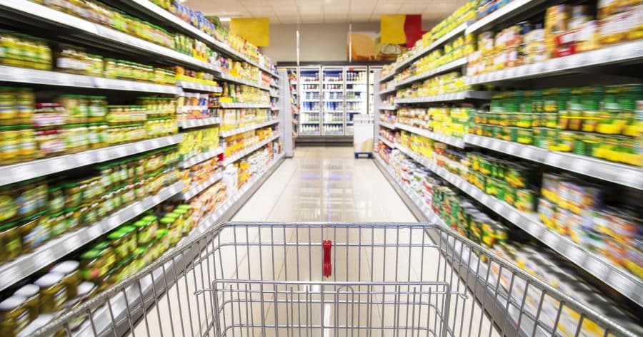 Shopping Cart In A Supermarket To Buy Emergency Food